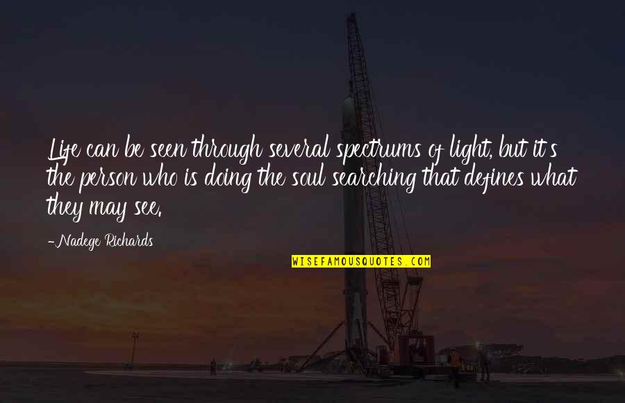 What Defines Life Quotes By Nadege Richards: Life can be seen through several spectrums of