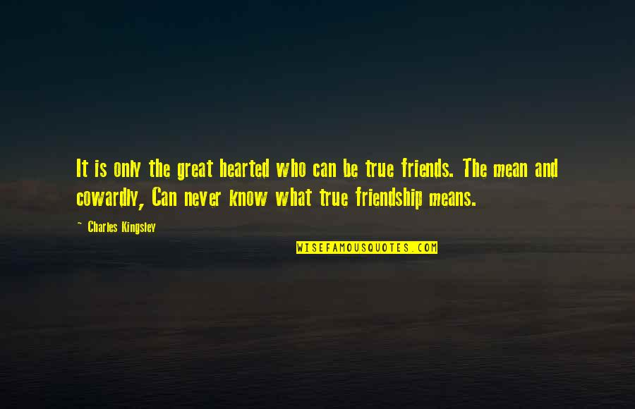 What Friendship Means Quotes By Charles Kingsley: It is only the great hearted who can