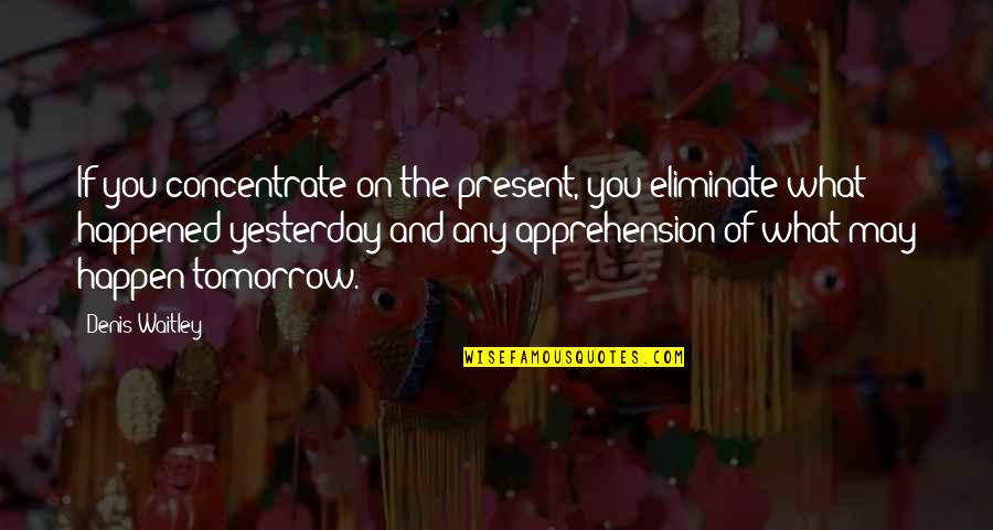 What Happened Yesterday Quotes By Denis Waitley: If you concentrate on the present, you eliminate