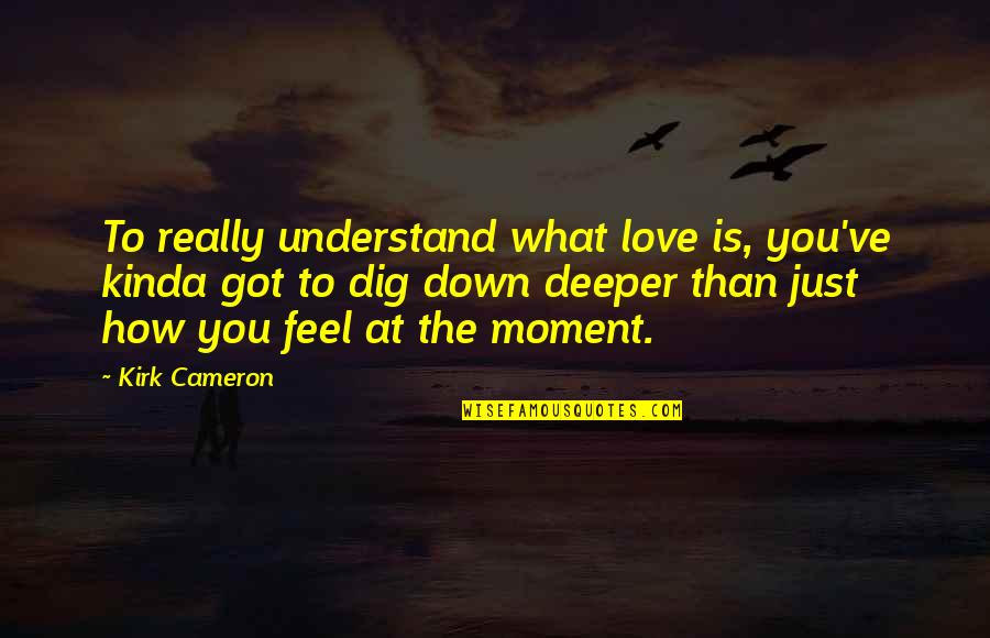 What I Feel For You Love Quotes By Kirk Cameron: To really understand what love is, you've kinda