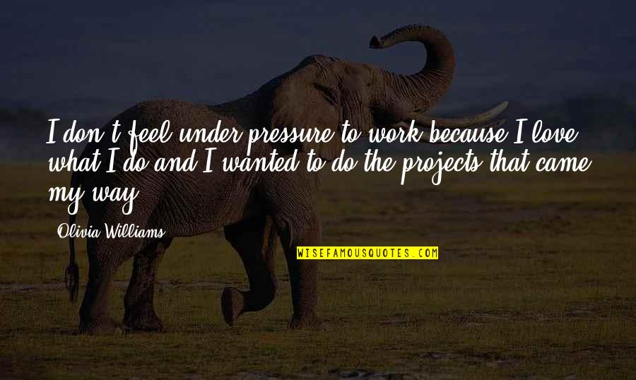 What I Feel For You Love Quotes By Olivia Williams: I don't feel under pressure to work because