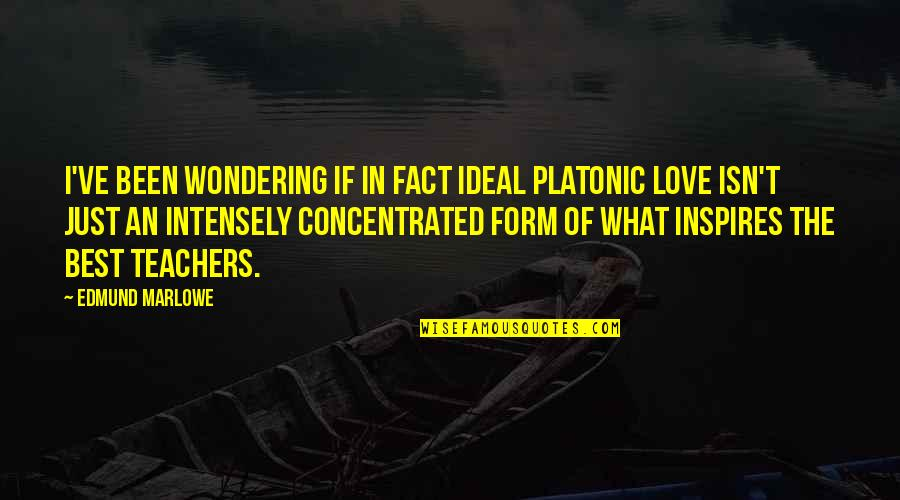 What Inspires You Quotes By Edmund Marlowe: I've been wondering if in fact ideal platonic