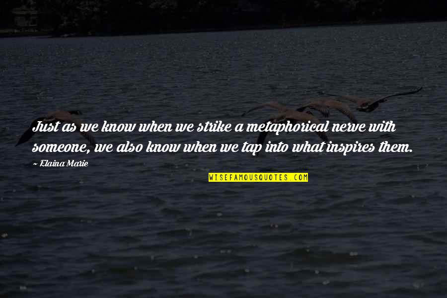 What Inspires You Quotes By Elaina Marie: Just as we know when we strike a