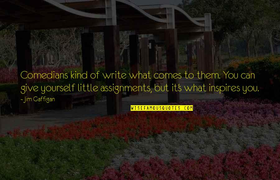 What Inspires You Quotes By Jim Gaffigan: Comedians kind of write what comes to them.