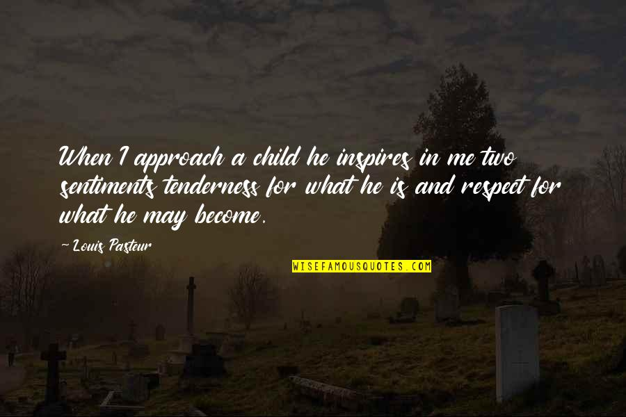 What Inspires You Quotes By Louis Pasteur: When I approach a child he inspires in