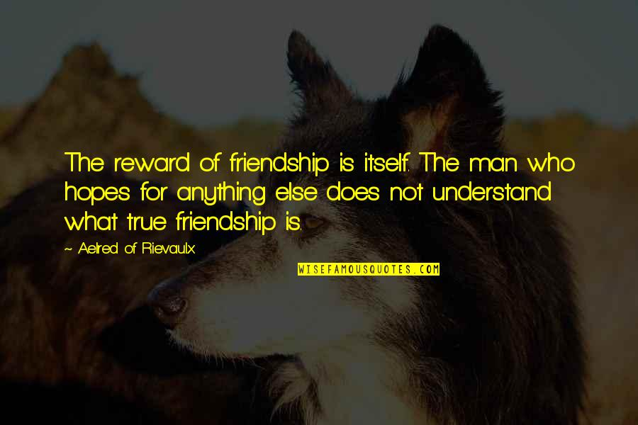 What Is A True Friend Quotes By Aelred Of Rievaulx: The reward of friendship is itself. The man