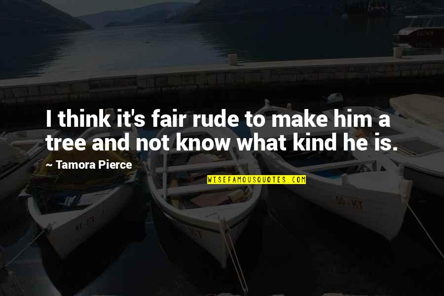 What Is Fair Quotes By Tamora Pierce: I think it's fair rude to make him