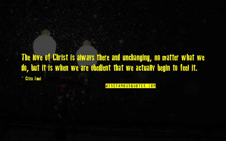 What Is Grace Quotes By Criss Jami: The love of Christ is always there and