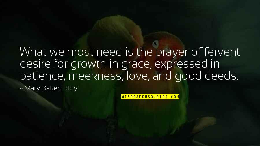 What Is Grace Quotes By Mary Baker Eddy: What we most need is the prayer of