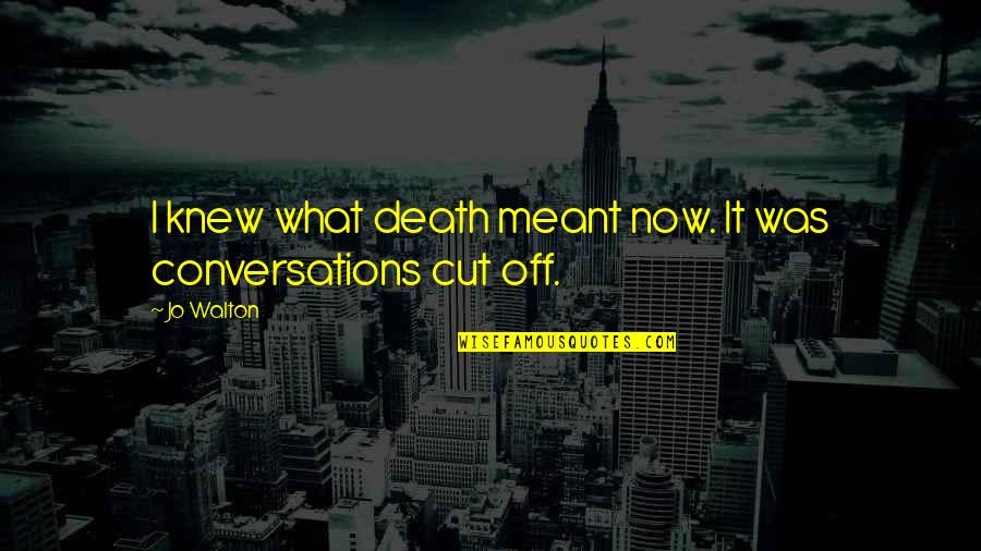 What Is Meant For You Quotes By Jo Walton: I knew what death meant now. It was