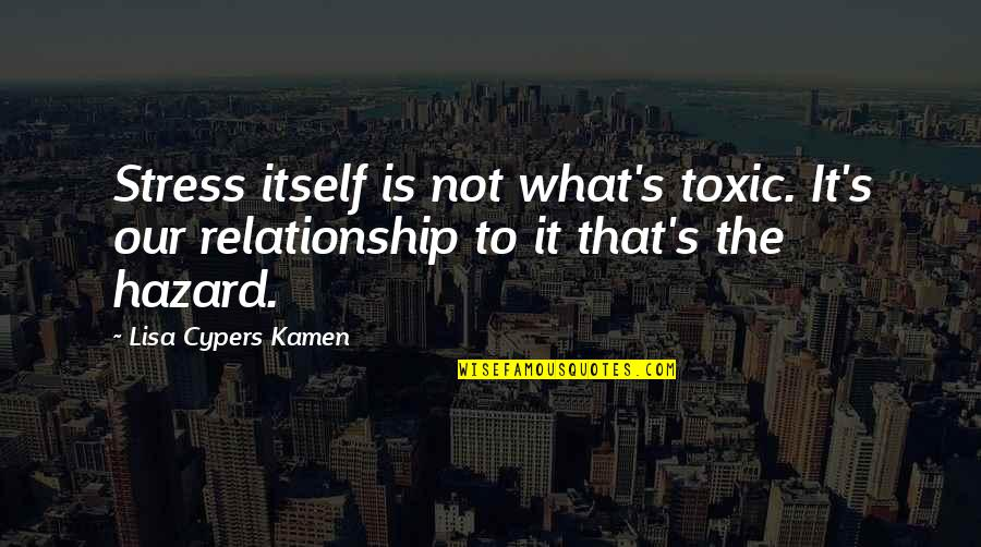 What Is Our Relationship Quotes By Lisa Cypers Kamen: Stress itself is not what's toxic. It's our
