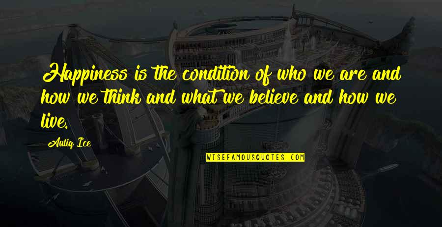 What Is Positive Attitude Quotes By Auliq Ice: Happiness is the condition of who we are