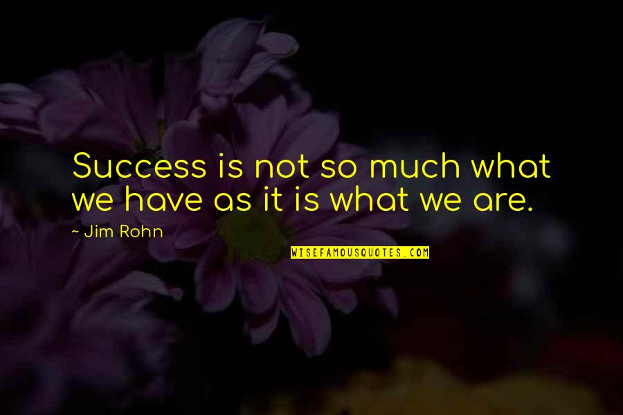 What Is Success Quotes By Jim Rohn: Success is not so much what we have