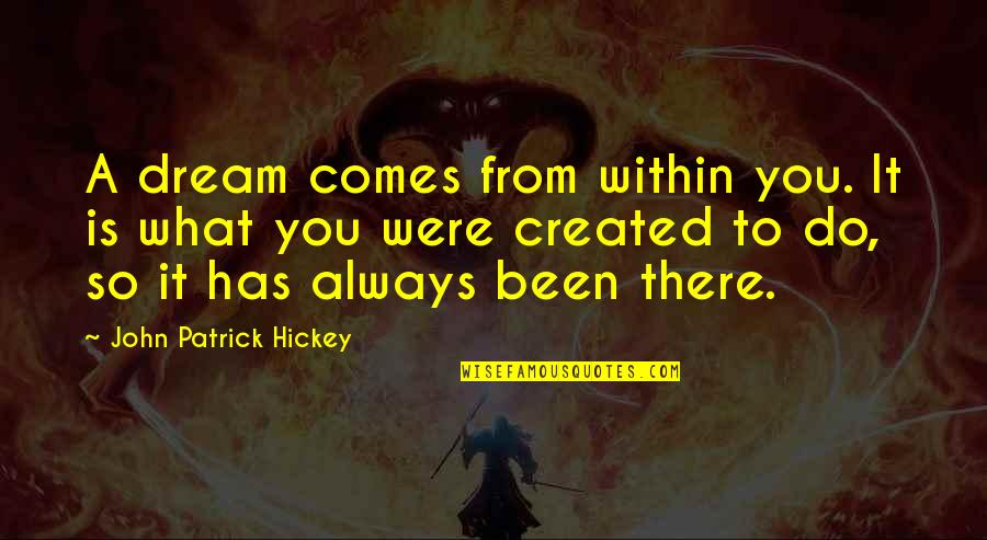 What Is Success Quotes By John Patrick Hickey: A dream comes from within you. It is