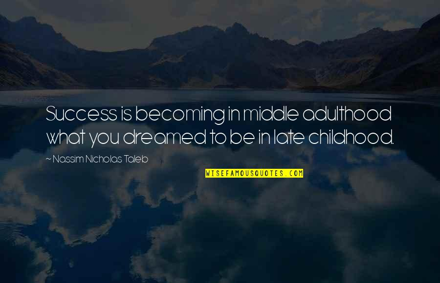 What Is Success Quotes By Nassim Nicholas Taleb: Success is becoming in middle adulthood what you