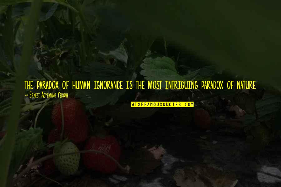 What Is The Purpose Of Life Quotes By Ernest Agyemang Yeboah: the paradox of human ignorance is the most