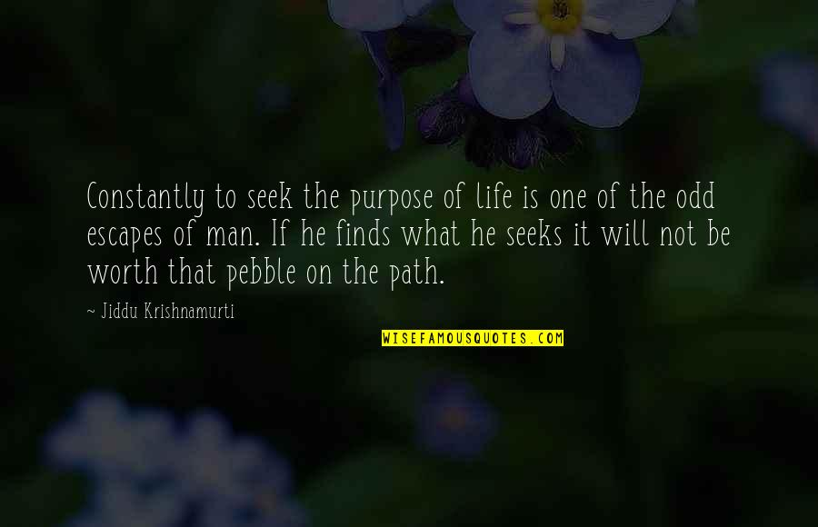 What Is The Purpose Of Life Quotes By Jiddu Krishnamurti: Constantly to seek the purpose of life is