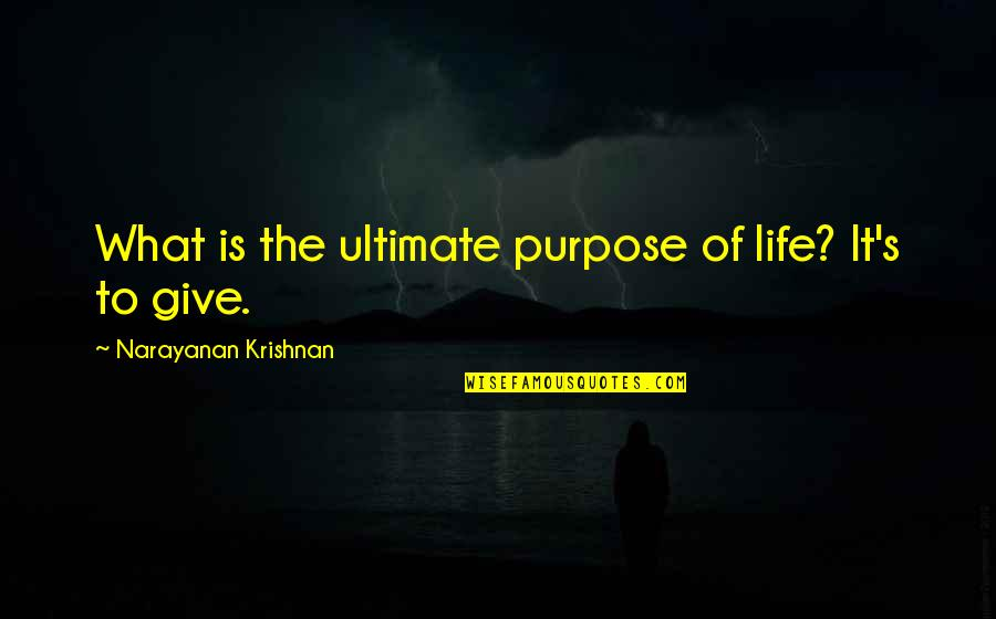 What Is The Purpose Of Life Quotes By Narayanan Krishnan: What is the ultimate purpose of life? It's