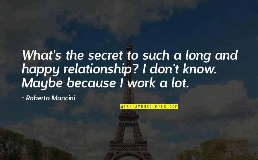 What Is This Relationship Quotes By Roberto Mancini: What's the secret to such a long and
