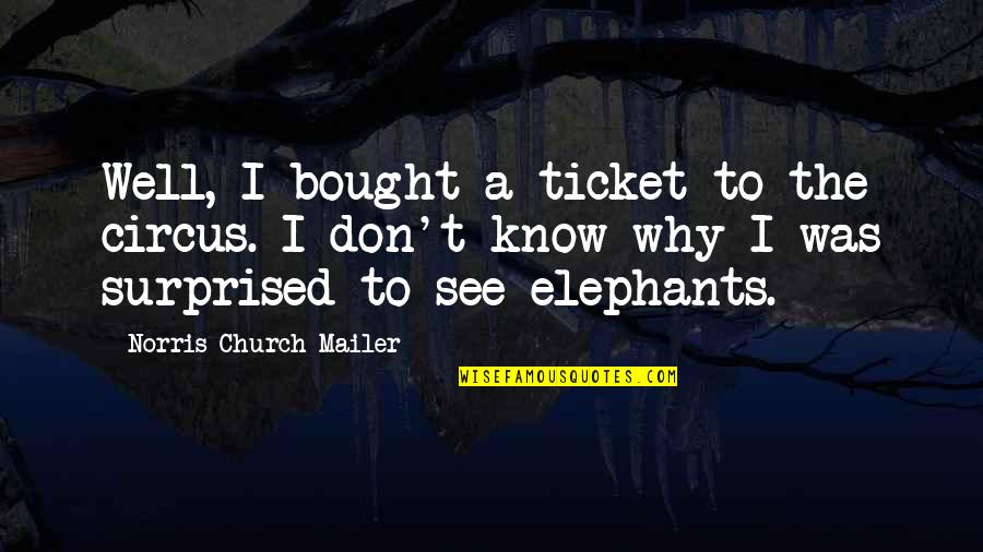What Life Holds Quotes By Norris Church Mailer: Well, I bought a ticket to the circus.