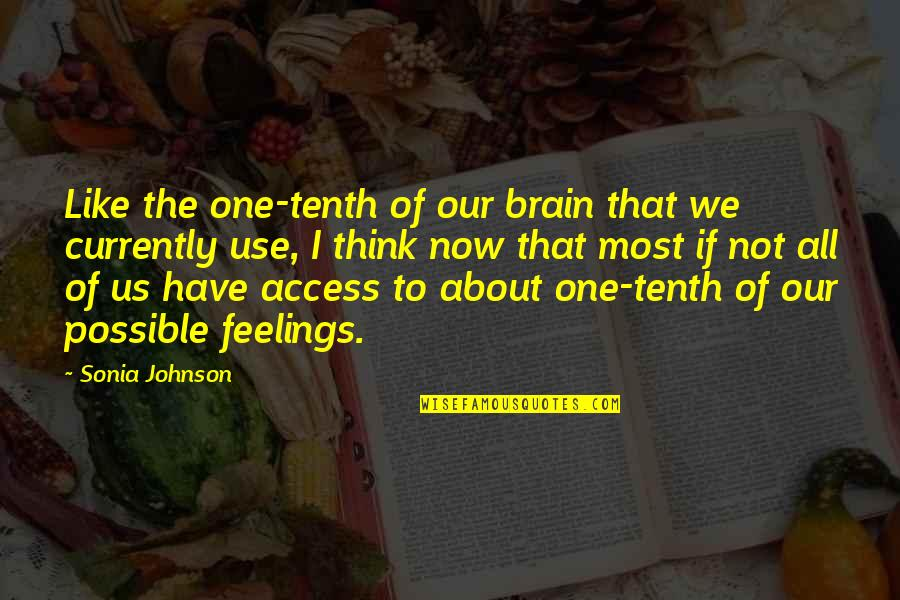 What Life Holds Quotes By Sonia Johnson: Like the one-tenth of our brain that we