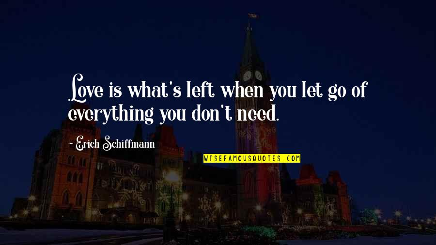 What Love Needs Quotes By Erich Schiffmann: Love is what's left when you let go