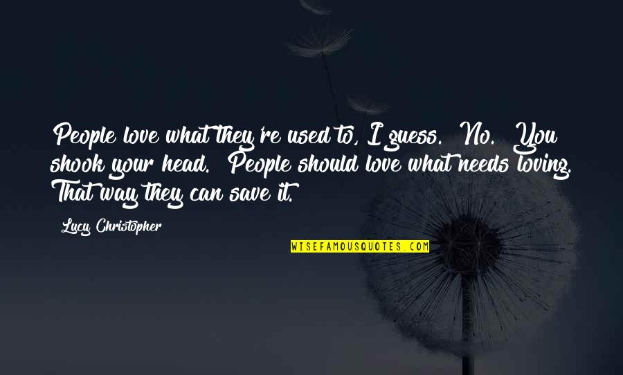 "What Love Needs Quotes By Lucy Christopher: People love what they're used to, I guess.""""No."""