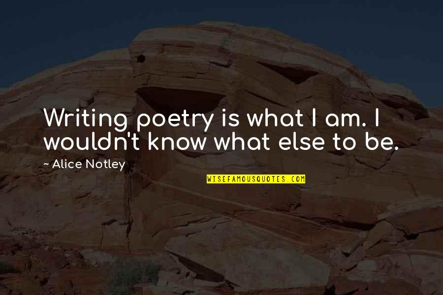 What Poetry Is Quotes By Alice Notley: Writing poetry is what I am. I wouldn't
