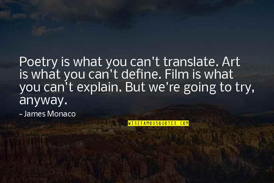 What Poetry Is Quotes By James Monaco: Poetry is what you can't translate. Art is
