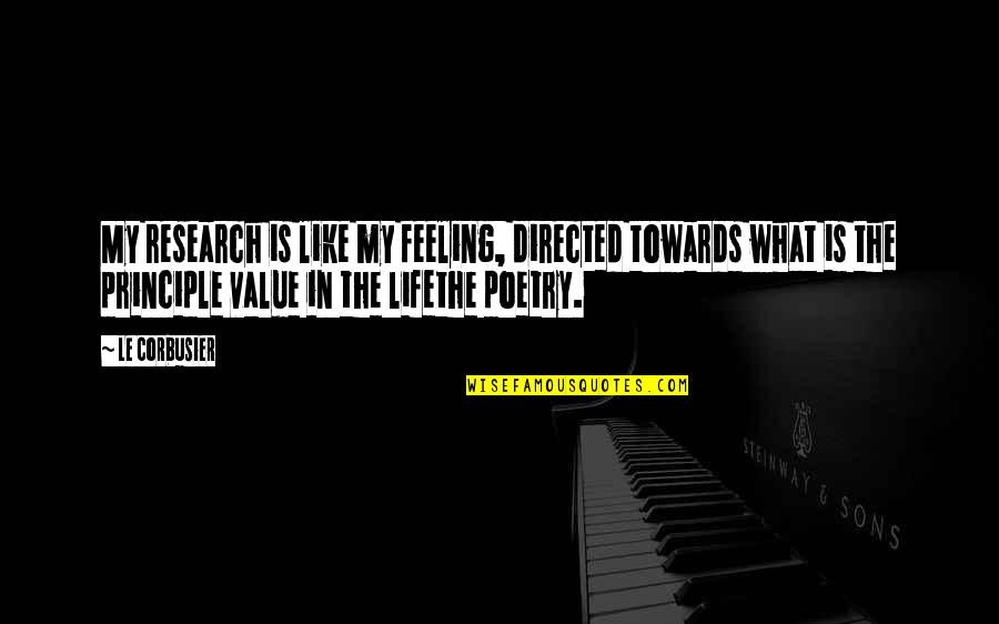 What Poetry Is Quotes By Le Corbusier: My research is like my feeling, directed towards