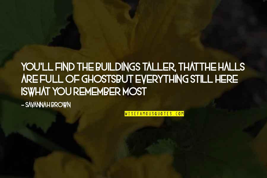 What Poetry Is Quotes By Savannah Brown: you'll find the buildings taller, thatthe halls are