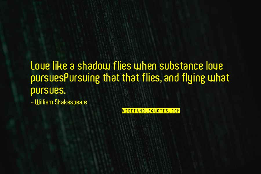 What Shakespeare Quotes By William Shakespeare: Love like a shadow flies when substance love