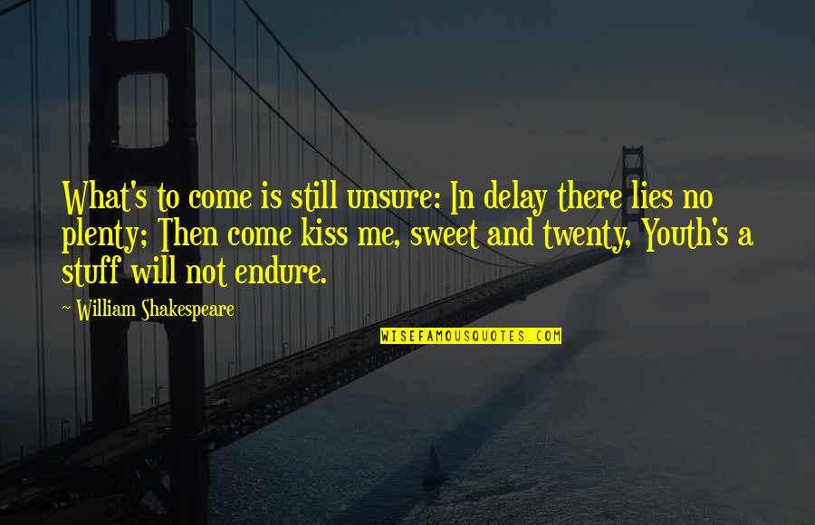 What Shakespeare Quotes By William Shakespeare: What's to come is still unsure: In delay