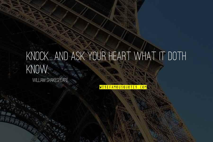 What Shakespeare Quotes By William Shakespeare: Knock... and ask your heart what it doth