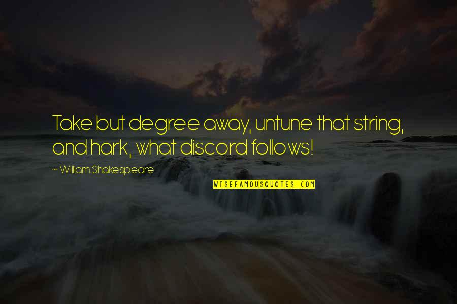 What Shakespeare Quotes By William Shakespeare: Take but degree away, untune that string, and