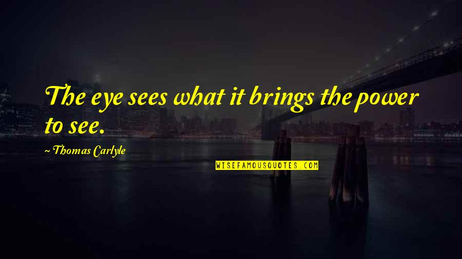 What The Eye Sees Quotes By Thomas Carlyle: The eye sees what it brings the power