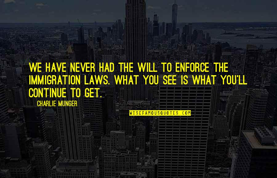What U See Is What U Get Quotes By Charlie Munger: We have never had the will to enforce
