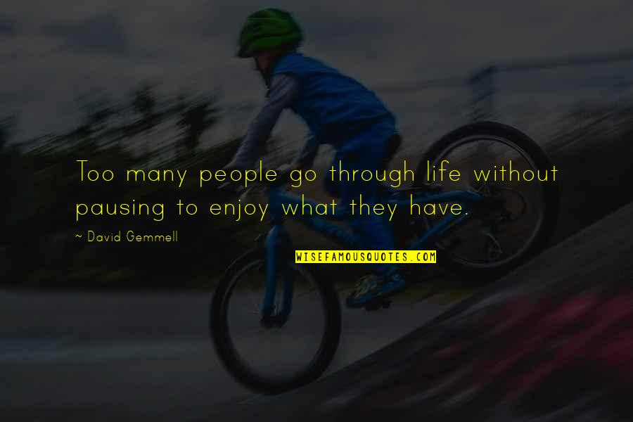 What We Go Through In Life Quotes By David Gemmell: Too many people go through life without pausing