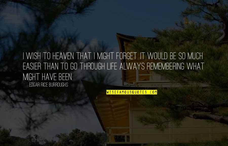 What We Go Through In Life Quotes By Edgar Rice Burroughs: I wish to Heaven that I might forget.