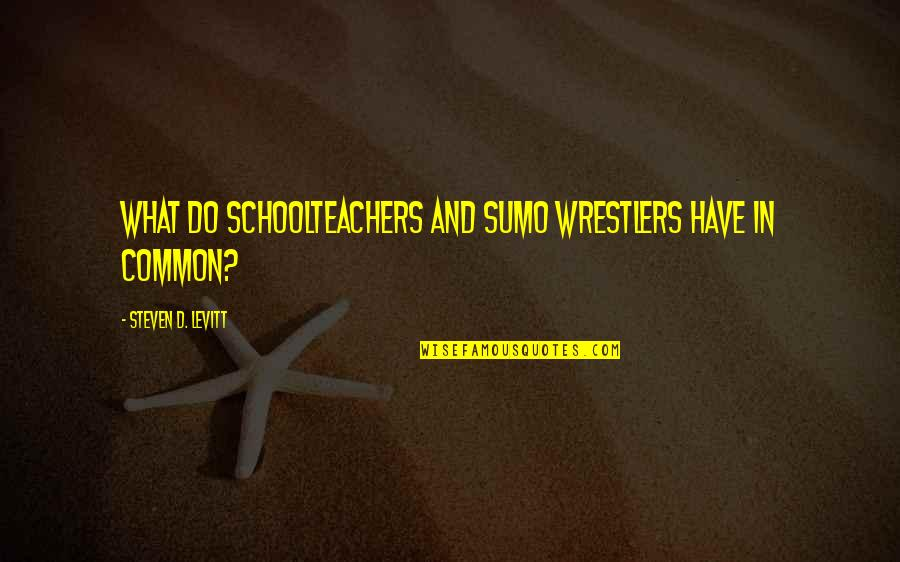 What We Have In Common Quotes By Steven D. Levitt: What Do Schoolteachers and Sumo Wrestlers Have in
