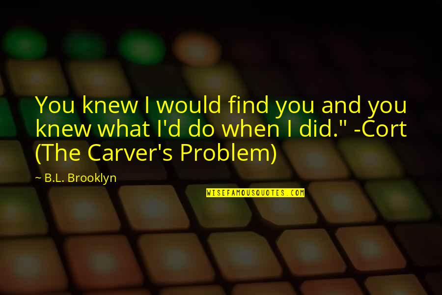 What Would I Ever Do Without You Quotes By B.L. Brooklyn: You knew I would find you and you