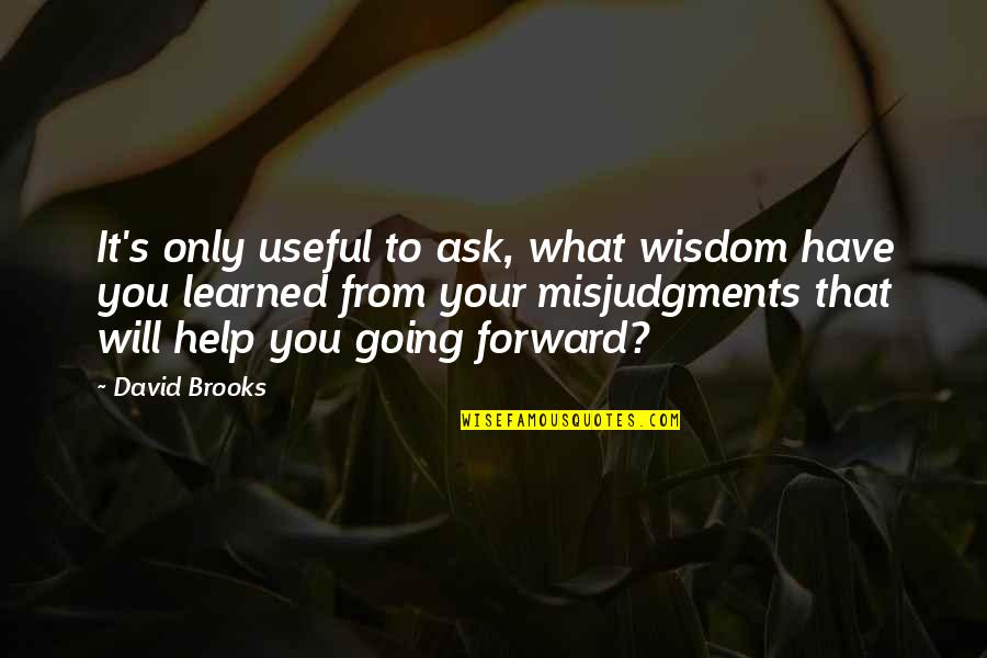 What You Have Learned Quotes By David Brooks: It's only useful to ask, what wisdom have