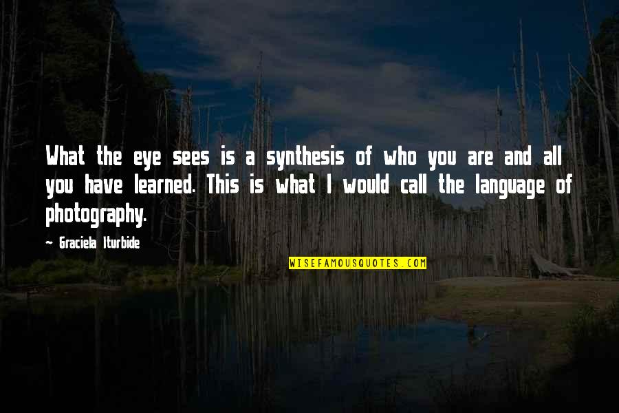 What You Have Learned Quotes By Graciela Iturbide: What the eye sees is a synthesis of