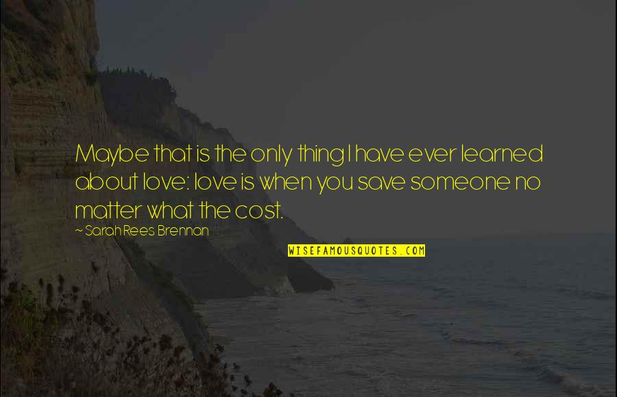 What You Have Learned Quotes By Sarah Rees Brennan: Maybe that is the only thing I have