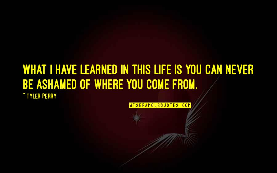 What You Have Learned Quotes By Tyler Perry: What I have learned in this life is