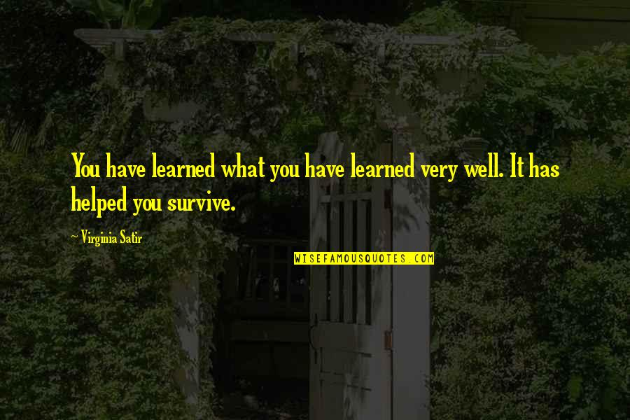 What You Have Learned Quotes By Virginia Satir: You have learned what you have learned very