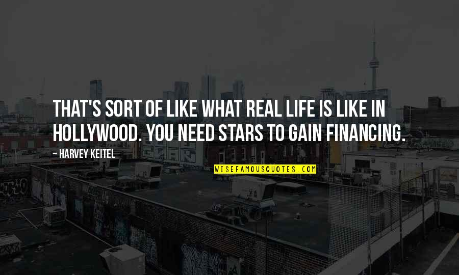 What You Need In Life Quotes By Harvey Keitel: That's sort of like what real life is