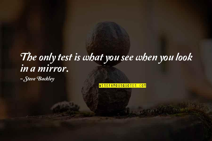 What You See Quotes By Steve Backley: The only test is what you see when