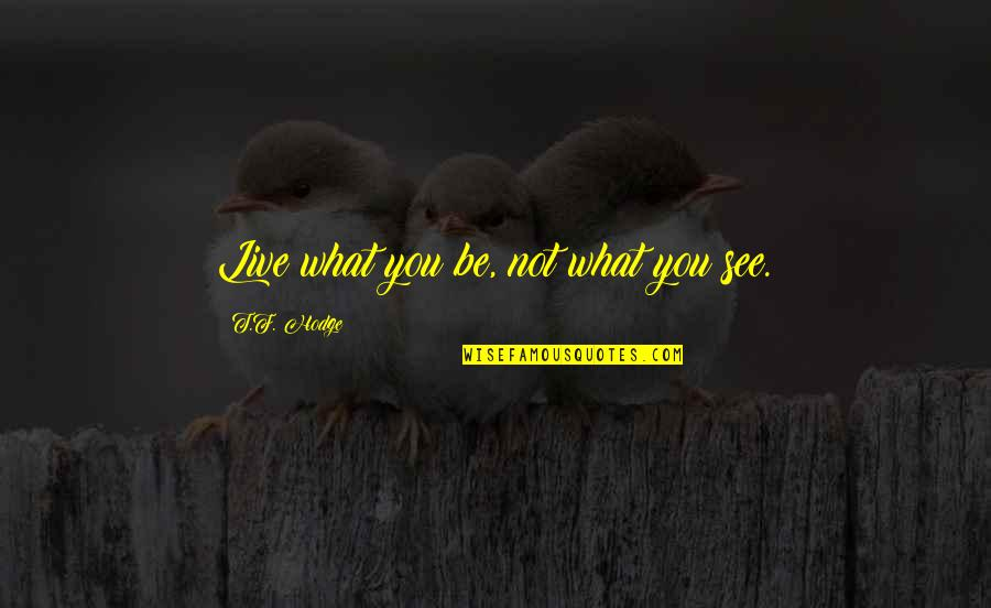 What You See Quotes By T.F. Hodge: Live what you be, not what you see.