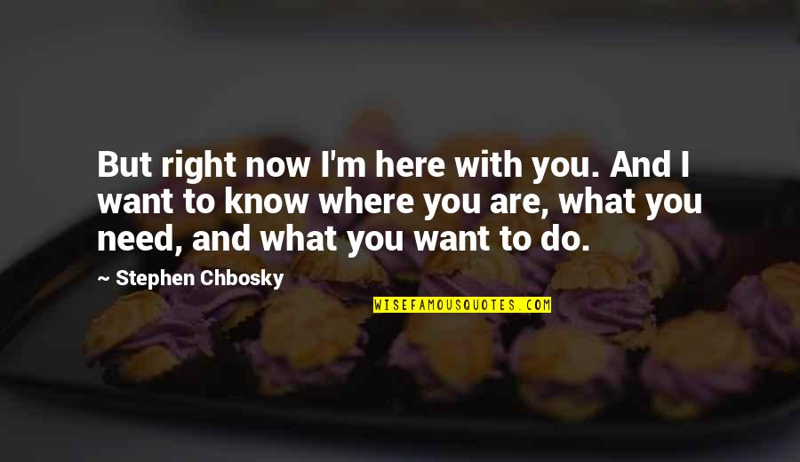 What You Want And Need Quotes By Stephen Chbosky: But right now I'm here with you. And